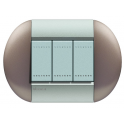BTICINO - LIVINGLIGHT PLACCA TONDA 3 MODULI TWIN BRONZE LNB4803TB