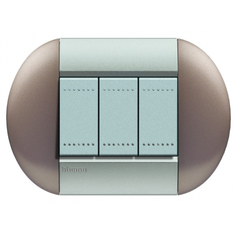 BTICINO - LIVINGLIGHT PLACCA TONDA 3 MODULI TWIN BRONZE LNB4803TB LNB4803TB-no Bticino LivingLight Placche Tonde 6,47 €