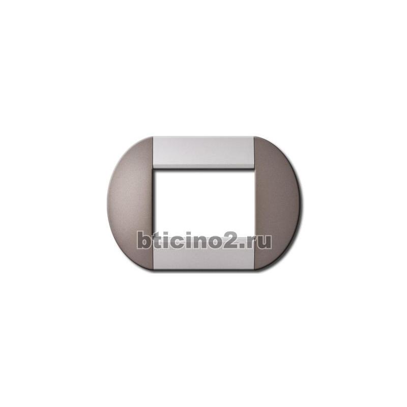 BTICINO LIVINGLIGHT placca tonda 4 moduli twin bronze LNB4804TB