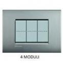 BTICINO - LIVINGLIGHT PLACCA AIR 4 MODULI NICHEL SATINATO LNC4804NK