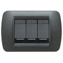 BTICINO - LIVINGLIGHT PLACCA INTERNATIONAL 3 MODULI GRAFITE NERO L4803GFN