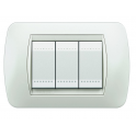 BTICINO - LIVINGLIGHT PLACCA INTERNATIONAL 3 MODULI WHITE CON CORNICE INTERNA BIANCA L4803BI