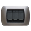 BTICINO - LIVINGLIGHT PLACCA INTERNATIONAL 3 MODULI INOX SPAZZOLATO L4803ACS