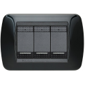 BTICINO - LIVINGLIGHT PLACCA INTERNATIONAL 3 MODULI NERO SOLID L4803NR