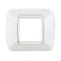 BTICINO - LIVINGLIGHT PLACCA INTERNATIONAL 2 MODULI WHITE CON CORNICE INTERNA BIANCA L4802BI L4802BI Bticino LivingLight Plac...