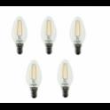 56407 BEGHELLI CONFEZIONE DA 5 LAMPADINE OLIVA ZAFIRO LED E14 2700K 4W