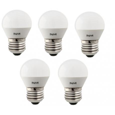 56962 BEGHELLI CONFEZIONE DA 5 LAMPADINE ES LED SFERA E14 3.5W 3000K