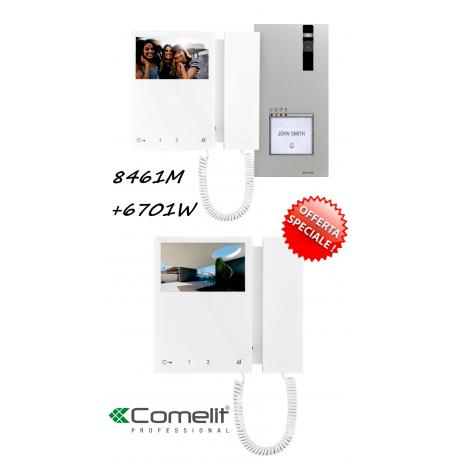 8461M COMELIT KIT MONOFAMILIARE N°2 VIDEOCITOFONI 6701W 2 FILI SIMPLEBUS TOP 2 FILI SIMPLEBUS TOP 399,80 €