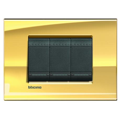 BTICINO - LIVINGLIGHT LNA4803OA PLACCA QUADRA 3 MODULI ORO ROSA LUCIDO LNA4803OA Bticino LivingLight Placche Quadre 17,79 €
